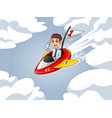 businessman in shirt riding a rocket vector image