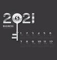 calendar 2021 concept business key to success vector image