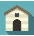 Cat house icon flat style vector image vector image