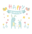 Childish Bunny with Mom Flat vector image