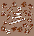 christmas with gingerbread vector image