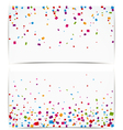 Colorful confetti on white banner vector image