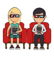 couple in cinema 3d chair vector image