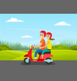 couple rides motorcycle on road nature green vector image vector image
