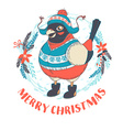 festive funny merry christmas card with bullfinch vector image