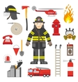 Fireman Professional Equipment Flat Icons vector image vector image