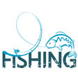 fishing design with a fishing rod vector image vector image