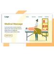 flat medical massage back problems landing page vector image vector image