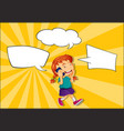 girl talking on phone with speech balloon vector image vector image