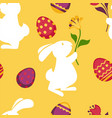 happy easter seamless pattern with decorated eggs vector image