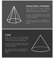 hexagonal pyramid and cone set vector image vector image