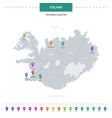 iceland map with location pointer marks vector image vector image