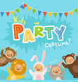 kids party invitation with happy vector image vector image