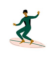 male surfer in wetsuit riding surfboard catching vector image vector image