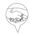 monochrome silhouette with hands in icon dialogue vector image vector image