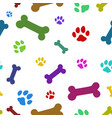 multi colored paw pattern vector image vector image