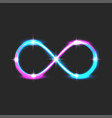 neon glow infinity symbol with bright shiny vector image