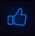neon likethumbs up symbol on brick wall vector image vector image