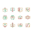 New Year and Christmas color line icons vector image