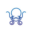 octopus tentacles marine life thick line blue vector image