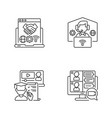online communication linear icons set vector image