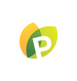 p letter leaf overlapping color logo icon vector image vector image