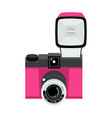 pink and black analog plastic camera with flash f vector image vector image