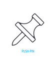 pushpin side view outline icon vector image