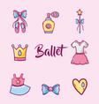 set ballet accesories decoration design vector image vector image