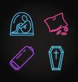 set depression symptoms concept neon icons vector image vector image