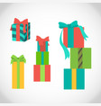 set different gift boxes with ribbon vector image