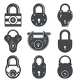 set nine padlocks vector image