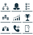 set of 9 human resources icons includes cellular vector image vector image