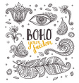 set ornamental boho style elements vector image