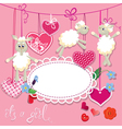 sheep pink card 2 380 vector image vector image