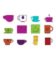 tea cup icon set color outline style vector image vector image