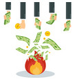 wasting money into fire vector image vector image