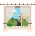 window with rural landscape from inside vector image