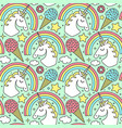 seamless pattern with unicorn and rainbow vector image