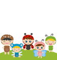Kids dressed as insect cute costume vector image