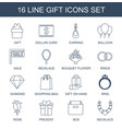 16 gift icons vector image vector image