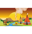 A camp fire and the sunset vector image vector image