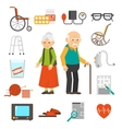 Aging people accessories Flat Icons Set vector image vector image