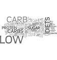 are you ready for low carb text word cloud concept vector image vector image