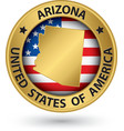 Arizona state gold label with state map vector image vector image