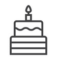 birthday cake line icon sweet and holiday vector image vector image