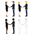 business woman and man hand shake vector image