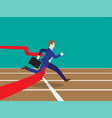 businessman running through finish line vector image