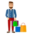 Buyer with shopping bags vector image vector image