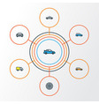 car colorful outline icons set collection of vector image